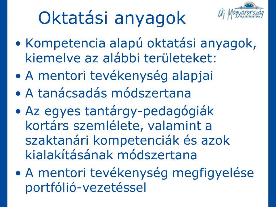 Oktatási anyagok Kompetencia alapú oktatási anyagok, kiemelve az alábbi területeket: A mentori tevékenység alapjai.