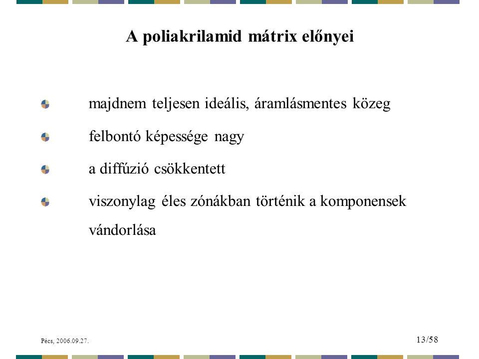 A poliakrilamid mátrix előnyei