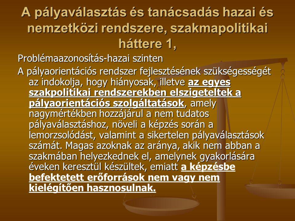 A pályaválasztás és tanácsadás hazai és nemzetközi rendszere, szakmapolitikai háttere 1,