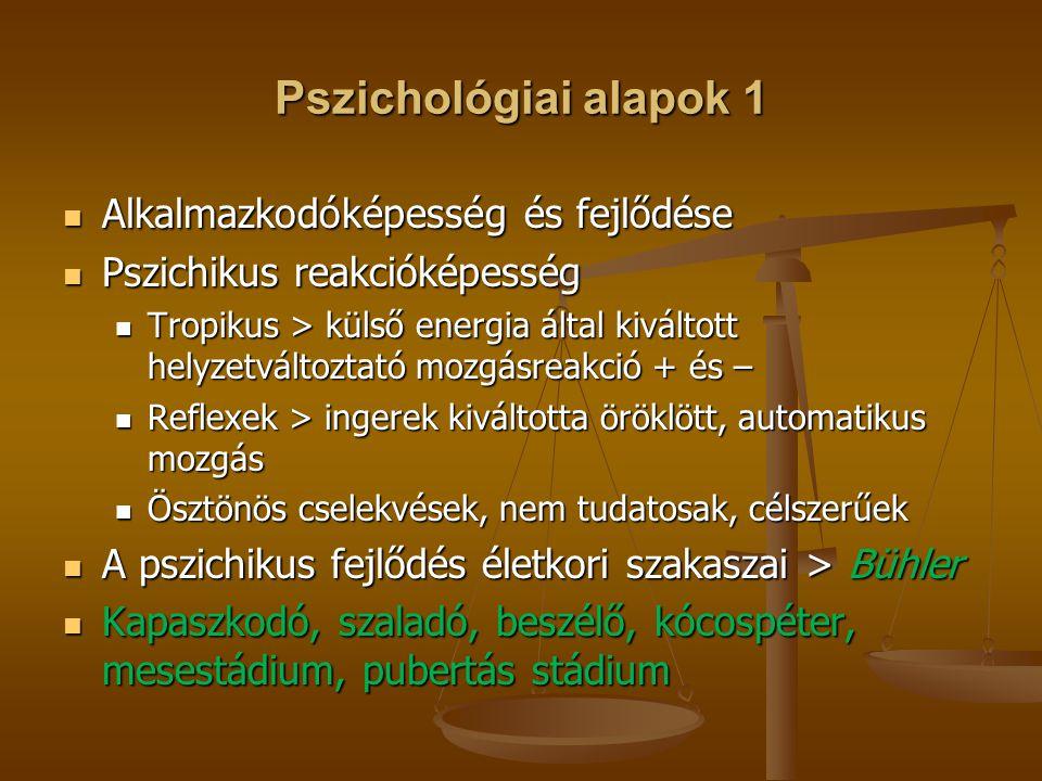 Pszichológiai alapok 1 Alkalmazkodóképesség és fejlődése