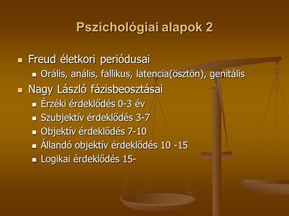 Pszichológiai alapok 2 Freud életkori periódusai