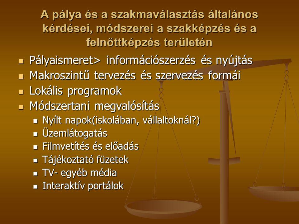 Pályaismeret> információszerzés és nyújtás