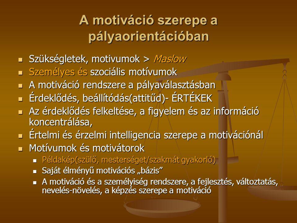 A motiváció szerepe a pályaorientációban