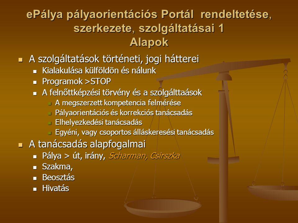 ePálya pályaorientációs Portál rendeltetése, szerkezete, szolgáltatásai 1 Alapok