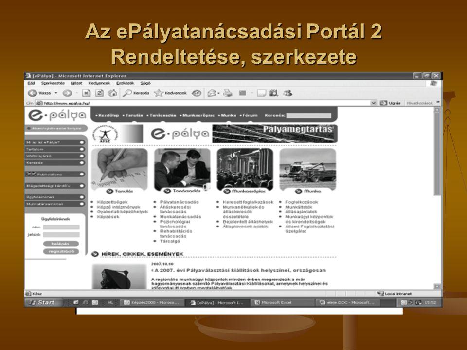 Az ePályatanácsadási Portál 2 Rendeltetése, szerkezete