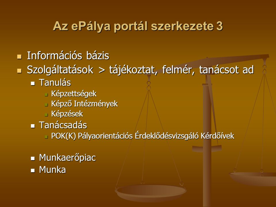 Az ePálya portál szerkezete 3