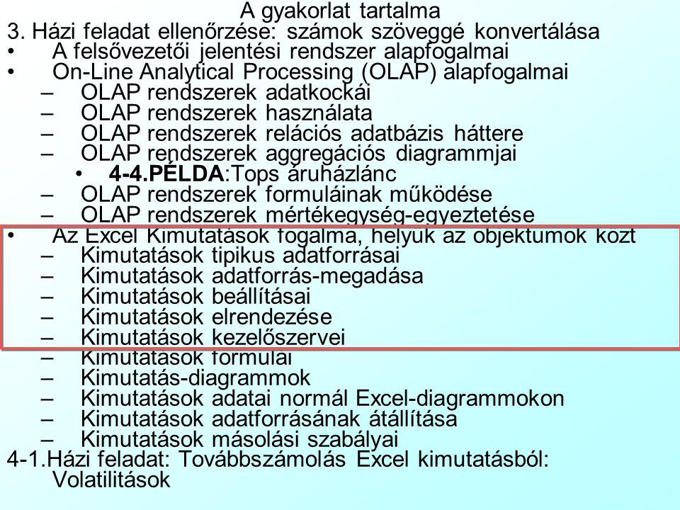 A gyakorlat tartalma 3. Házi feladat ellenőrzése: számok szöveggé konvertálása. A felsővezetői jelentési rendszer alapfogalmai.