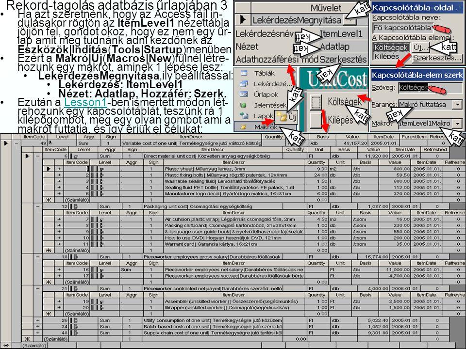 Rekord-tagolás adatbázis űrlapjában 3