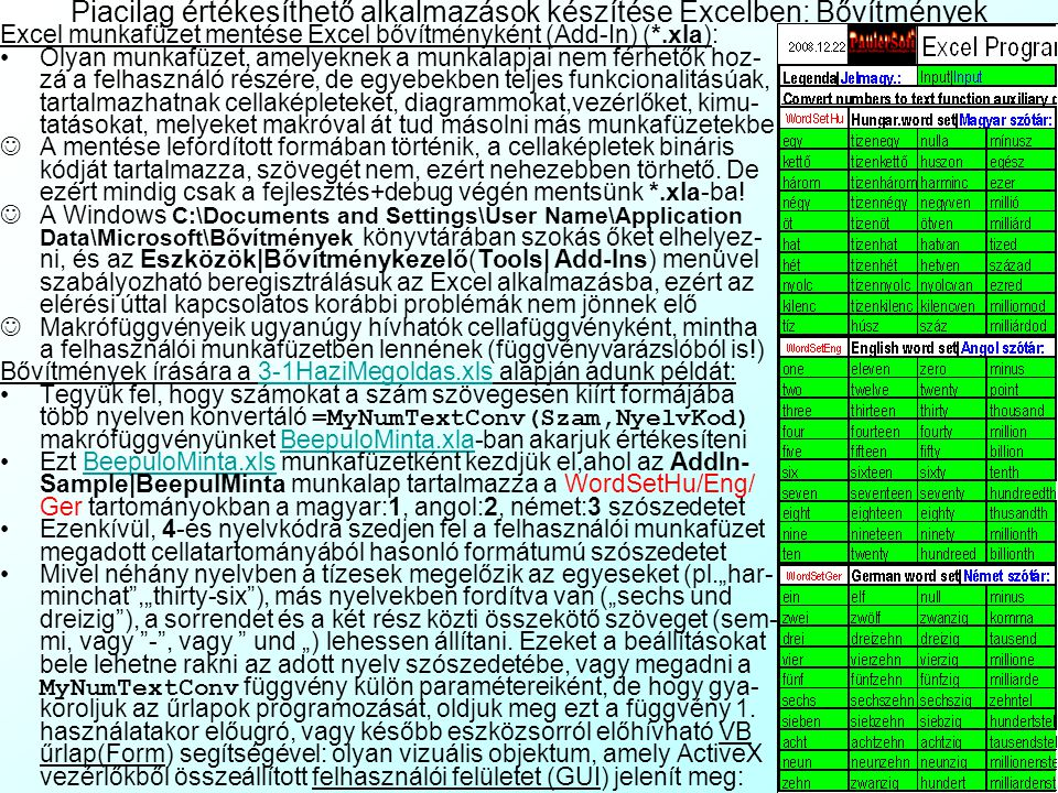 Piacilag értékesíthető alkalmazások készítése Excelben: Bővítmények