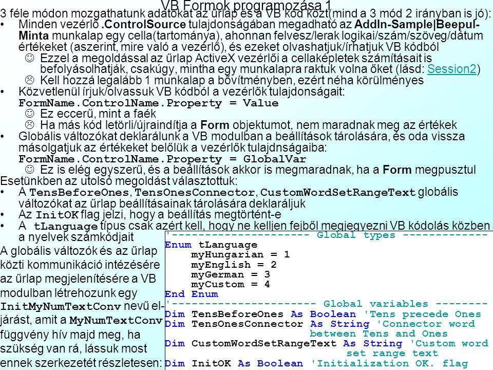 VB Formok programozása 1