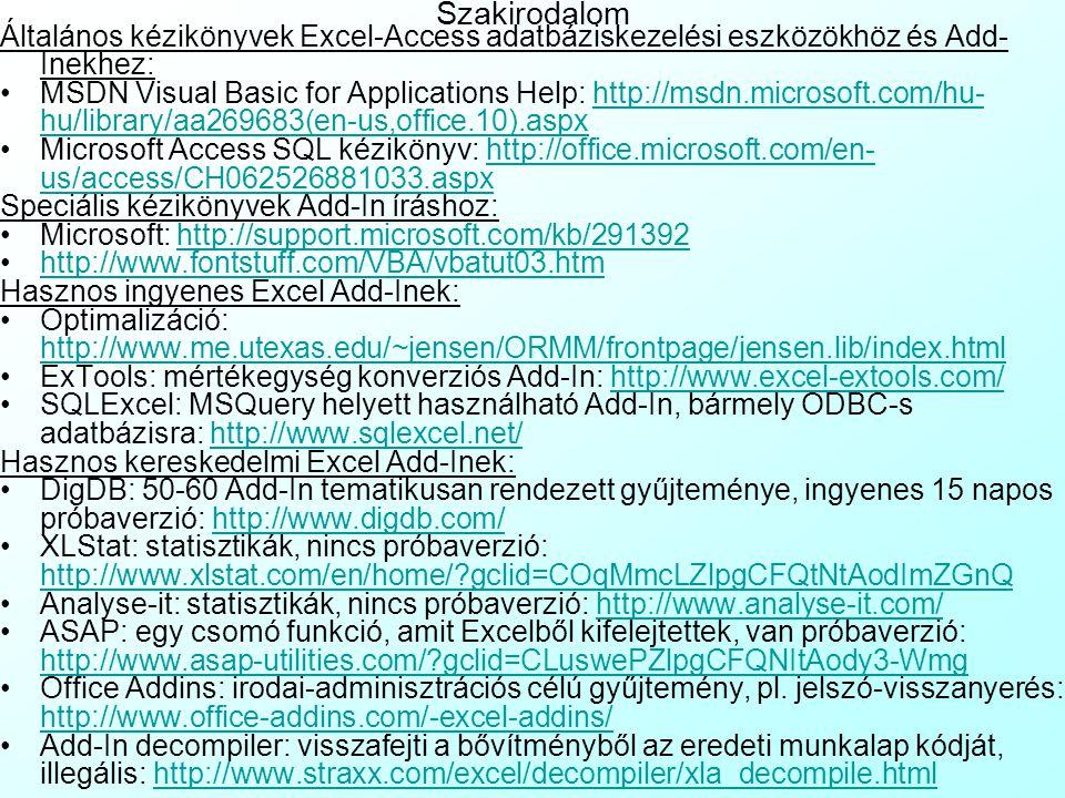 Szakirodalom Általános kézikönyvek Excel-Access adatbáziskezelési eszközökhöz és Add-Inekhez: