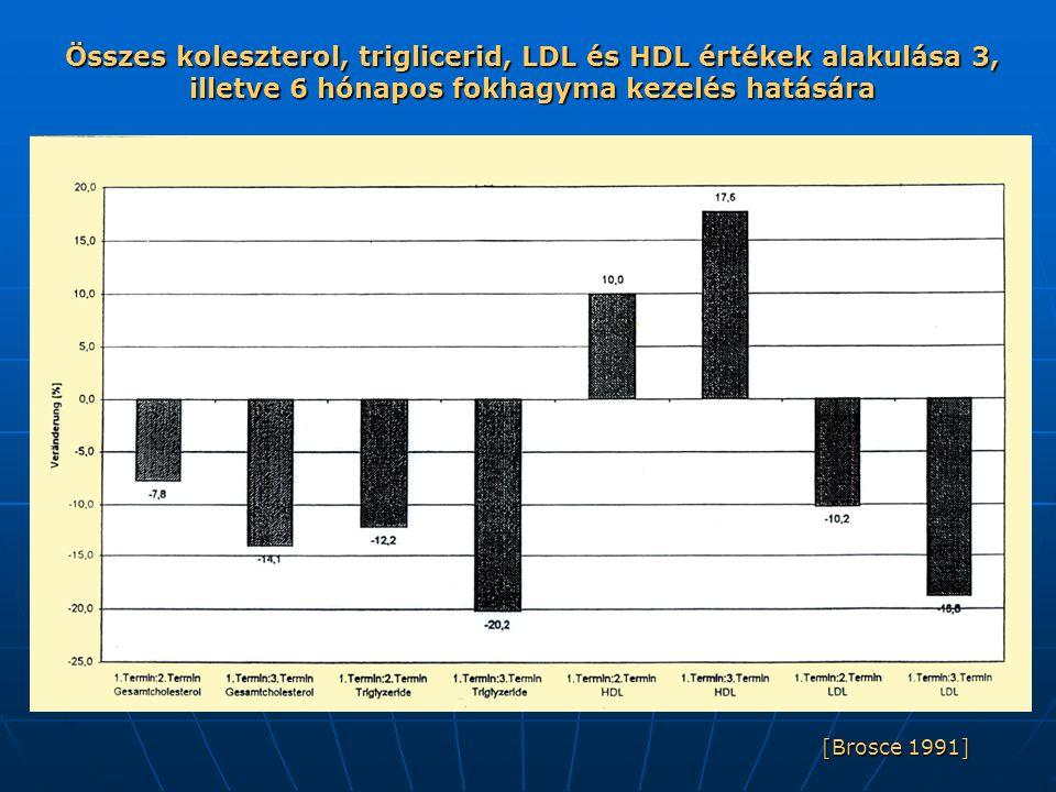 Összes koleszterol, triglicerid, LDL és HDL értékek alakulása 3, illetve 6 hónapos fokhagyma kezelés hatására
