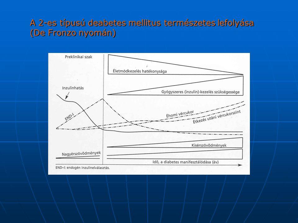 A 2-es típusú deabetes mellitus természetes lefolyása (De Fronzo nyomán)