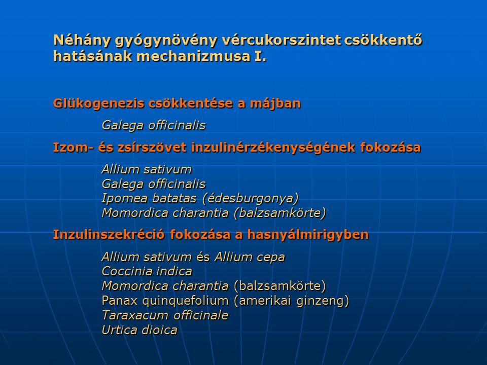Néhány gyógynövény vércukorszintet csökkentő hatásának mechanizmusa I.