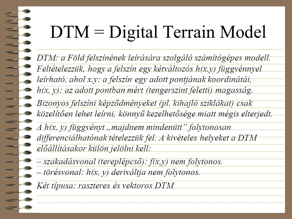 DTM = Digital Terrain Model