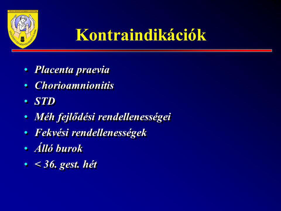 Kontraindikációk Placenta praevia Chorioamnionitis STD