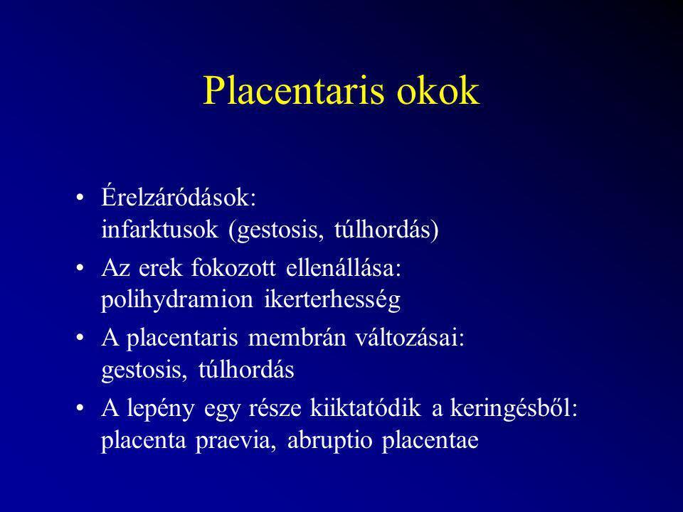 Placentaris okok Érelzáródások: infarktusok (gestosis, túlhordás)