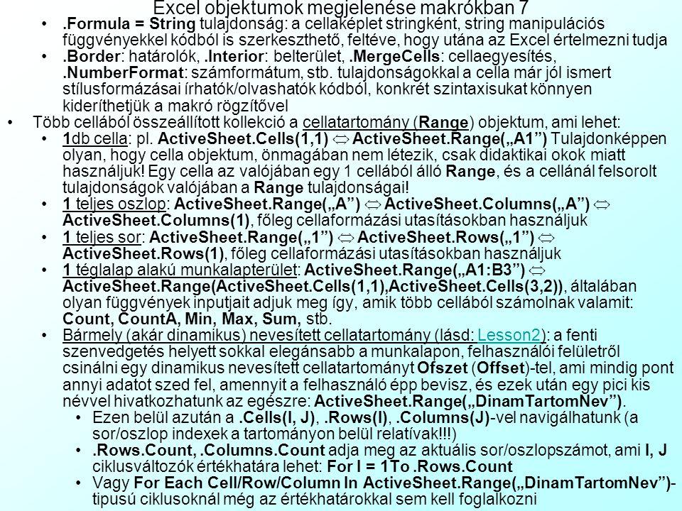 Excel objektumok megjelenése makrókban 7