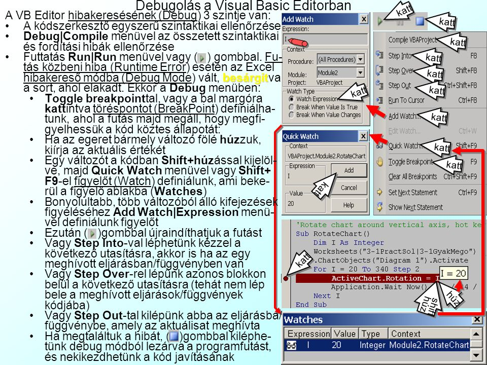 Debugolás a Visual Basic Editorban