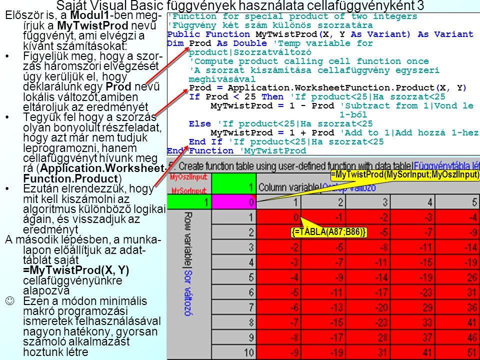Saját Visual Basic függvények használata cellafüggvényként 3