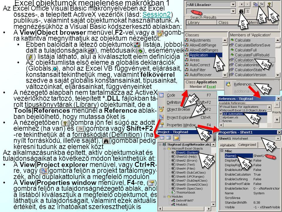 Excel objektumok megjelenése makrókban 1