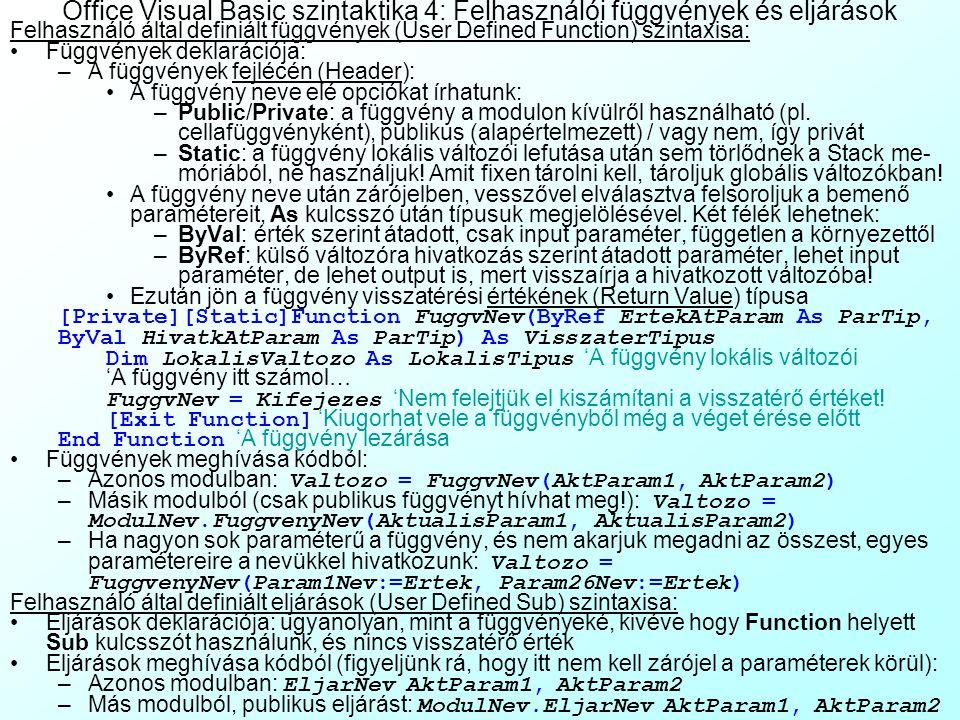 Office Visual Basic szintaktika 4: Felhasználói függvények és eljárások