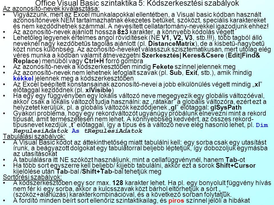 Office Visual Basic szintaktika 5: Kódszerkesztési szabályok