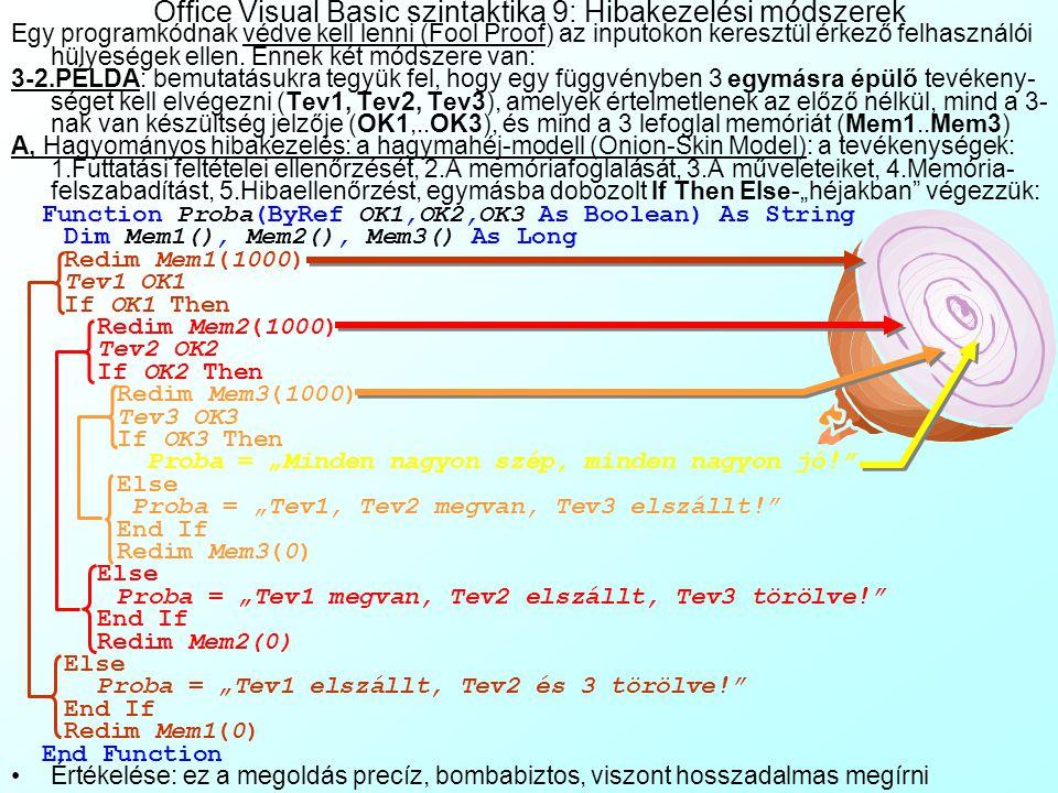 Office Visual Basic szintaktika 9: Hibakezelési módszerek