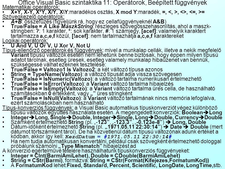 Office Visual Basic szintaktika 11: Operátorok, Beépített függvények