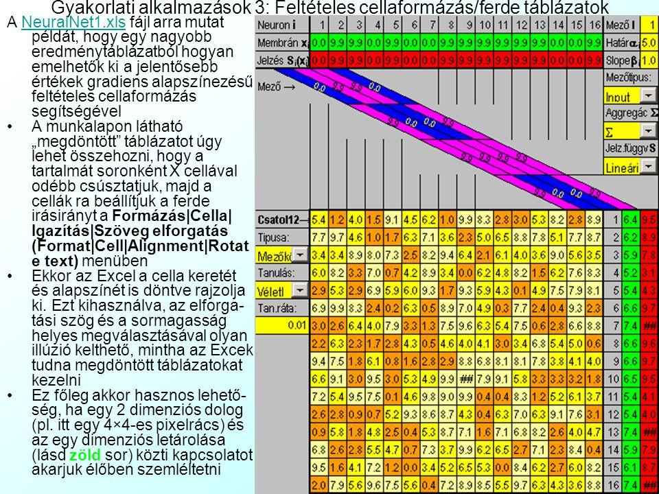 Gyakorlati alkalmazások 3: Feltételes cellaformázás/ferde táblázatok