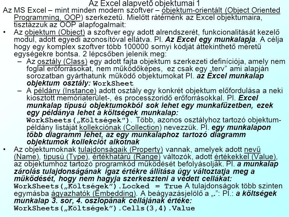 Az Excel alapvető objektumai 1