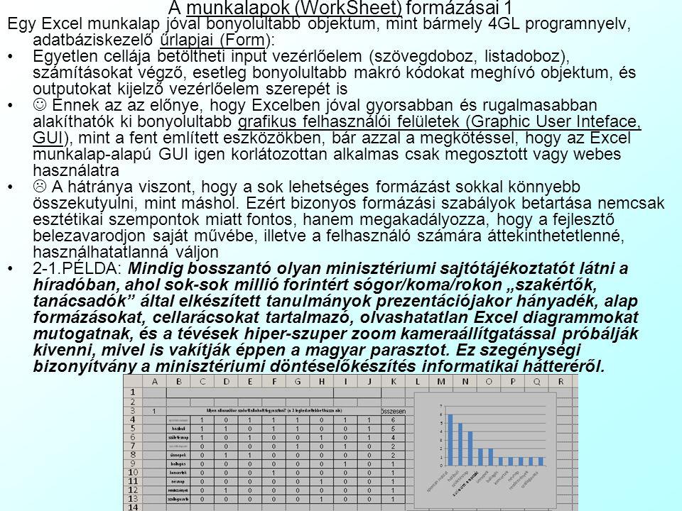A munkalapok (WorkSheet) formázásai 1