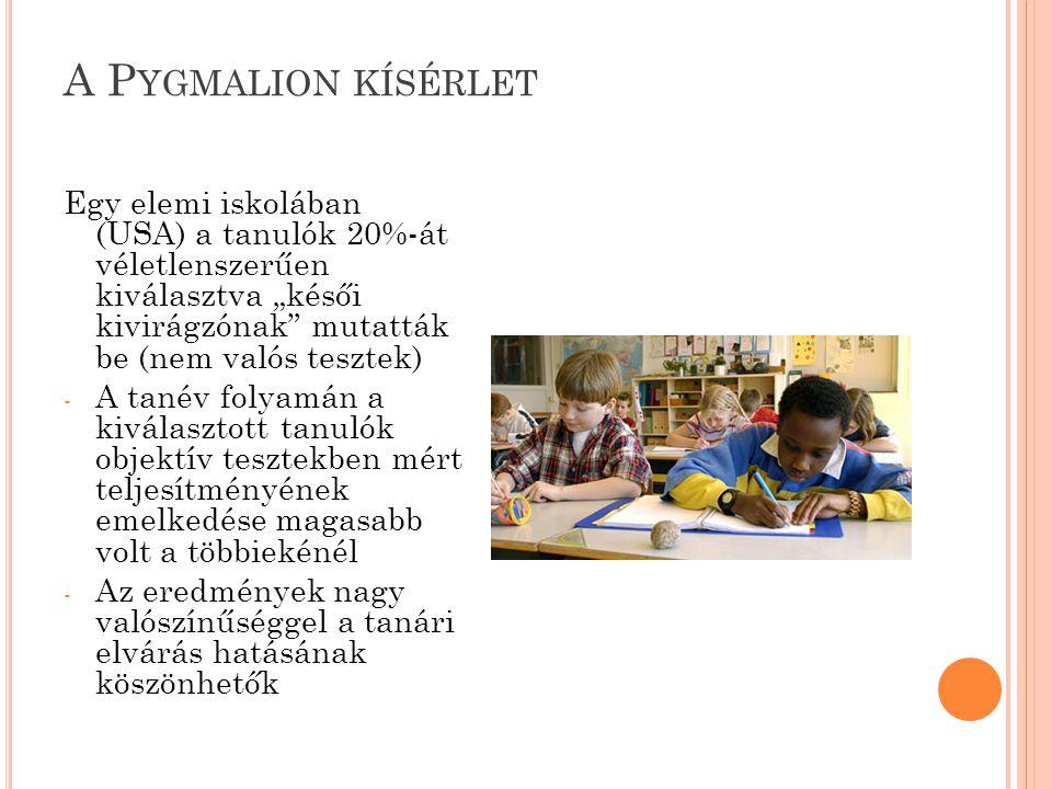 """A Pygmalion kísérlet Egy elemi iskolában (USA) a tanulók 20%-át véletlenszerűen kiválasztva """"késői kivirágzónak mutatták be (nem valós tesztek)"""