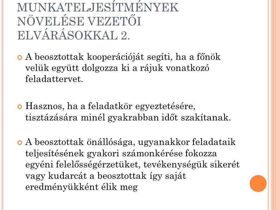 MUNKATELJESÍTMÉNYEK NÖVELÉSE VEZETŐI ELVÁRÁSOKKAL 2.