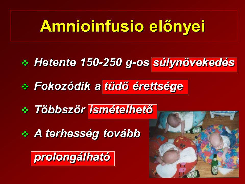 Amnioinfusio előnyei Hetente 150-250 g-os súlynövekedés