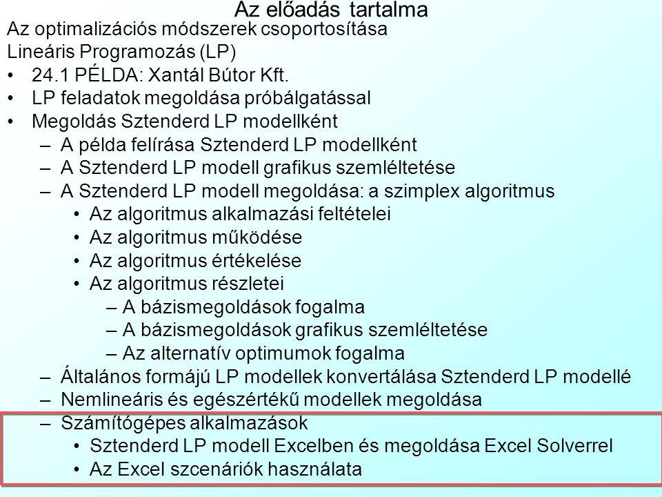 Az előadás tartalma Az optimalizációs módszerek csoportosítása