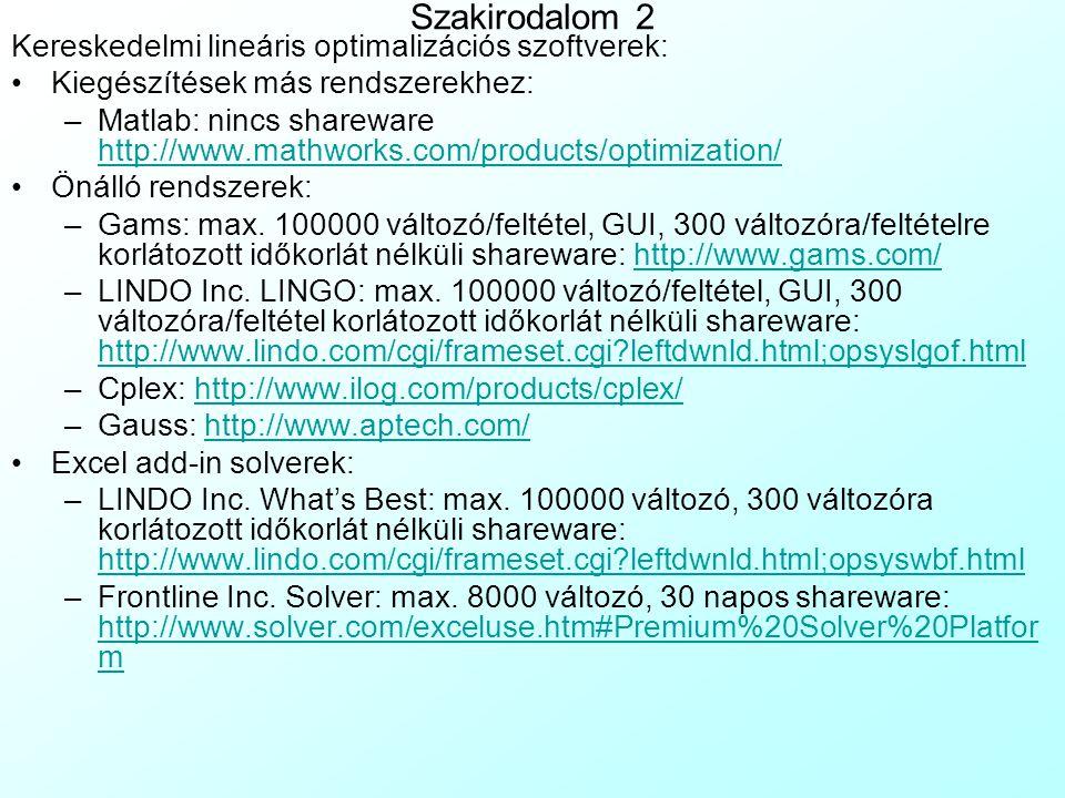 Szakirodalom 2 Kereskedelmi lineáris optimalizációs szoftverek: