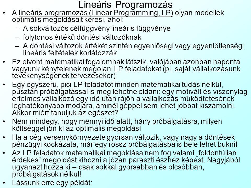 Lineáris Programozás A lineáris programozás (Linear Programming, LP) olyan modellek optimális megoldásait keresi, ahol: