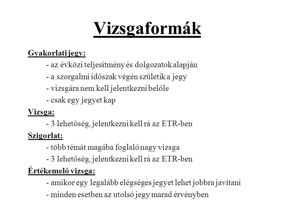 Vizsgaformák Gyakorlati jegy: