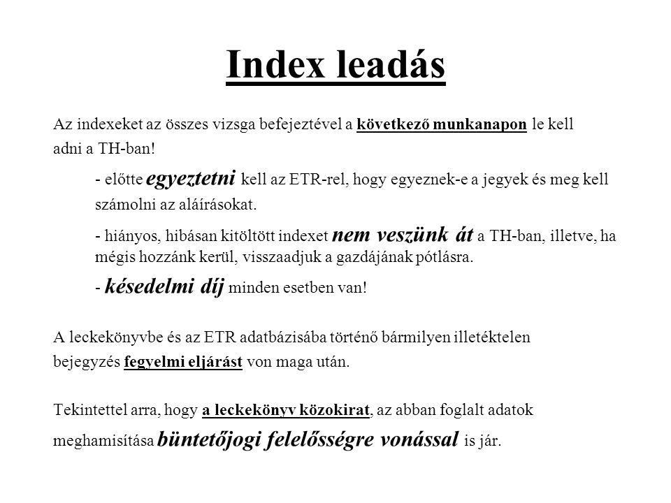 Index leadás
