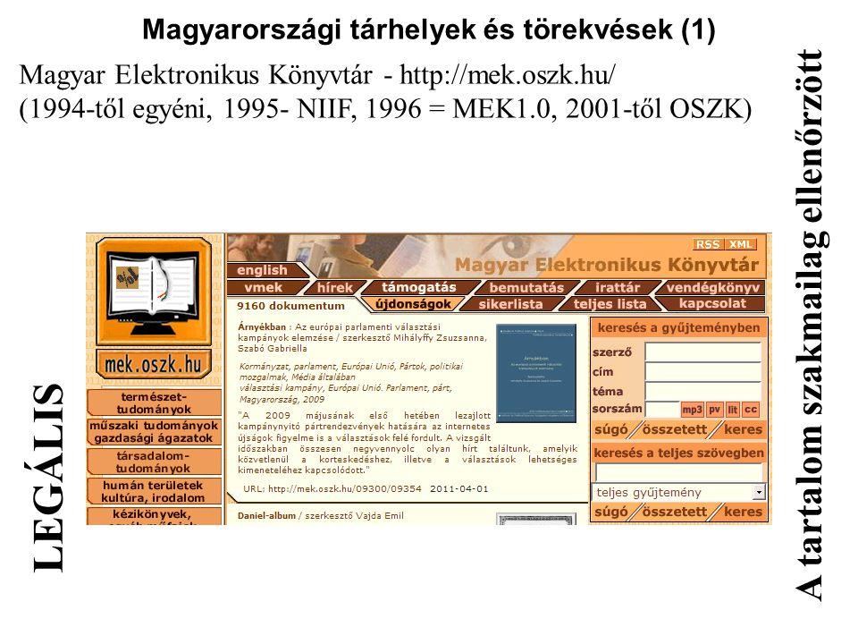 Magyarországi tárhelyek és törekvések (1)