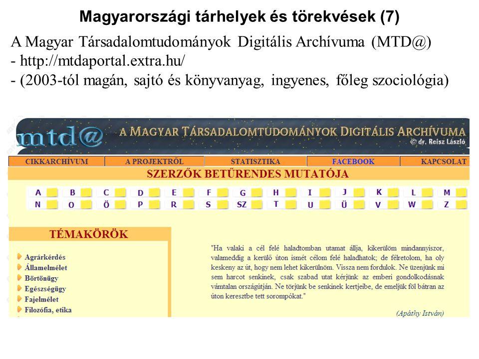 Magyarországi tárhelyek és törekvések (7)