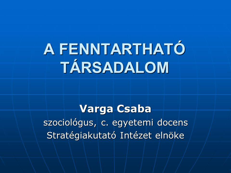 A FENNTARTHATÓ TÁRSADALOM