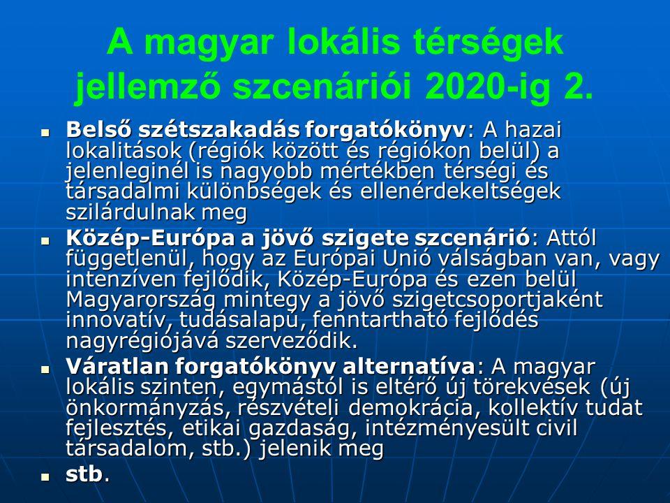 A magyar lokális térségek jellemző szcenáriói 2020-ig 2.