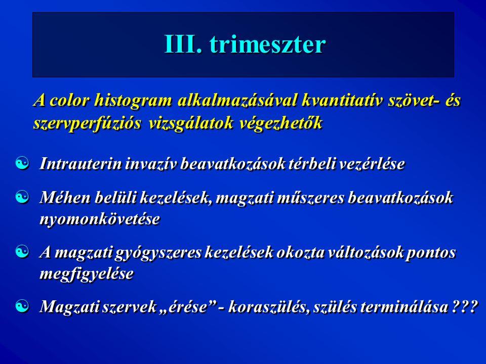 III. trimeszter A color histogram alkalmazásával kvantitatív szövet- és szervperfúziós vizsgálatok végezhetők.