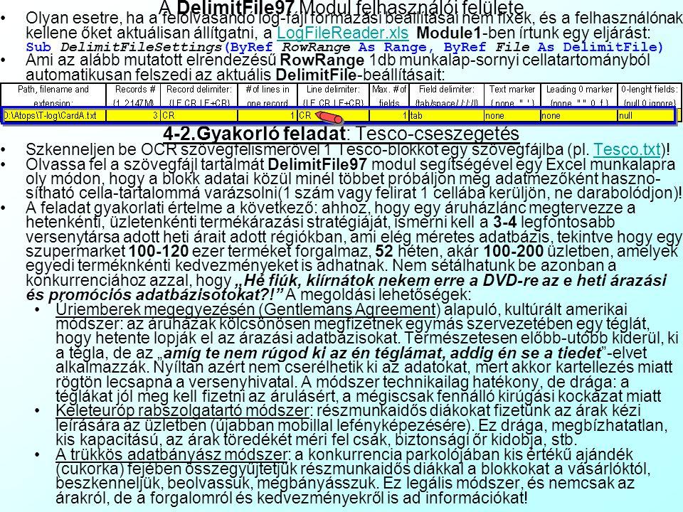 A DelimitFile97 Modul felhasználói felülete