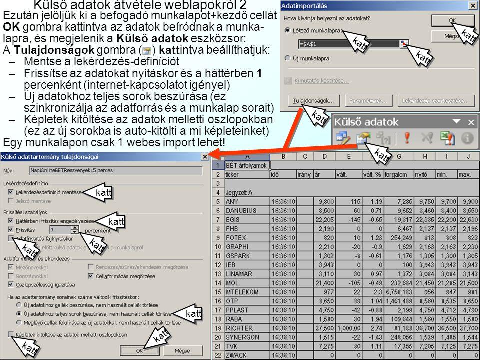 Külső adatok átvétele weblapokról 2
