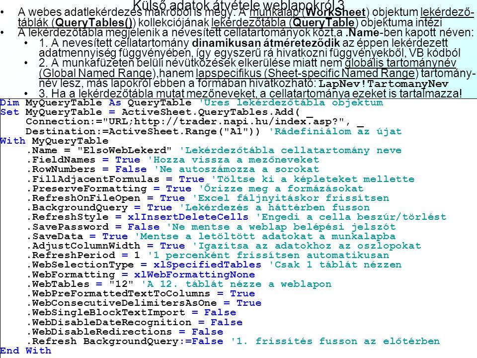 Külső adatok átvétele weblapokról 3