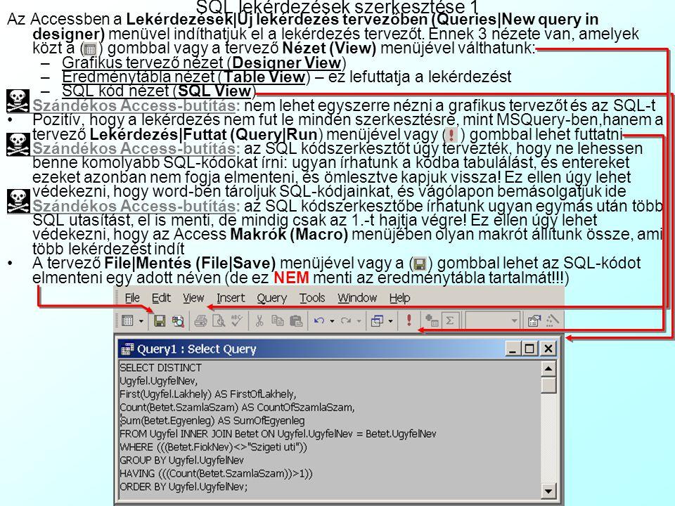 SQL lekérdezések szerkesztése 1