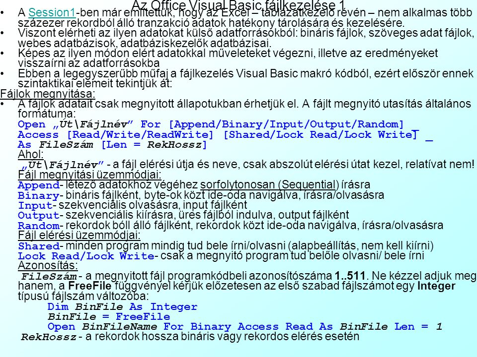 Az Office Visual Basic fájlkezelése 1